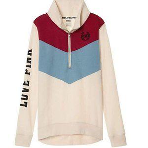 Victoria Secret Pink Half Zip Sweater LG NWT